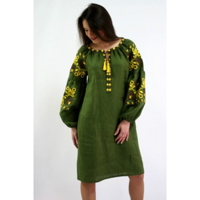 "Boho Style Ukrainian Embroidered Mini Dress ""Charm 2"" green/yellow"