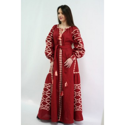 "Boho Style Ukrainian Embroidered Maxi Broad Dress Red ""Grace"""