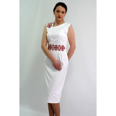 "Embroidered dress ""Dream"" red on white"