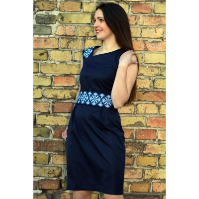 "Embroidered dress ""Dream"" blue on black"