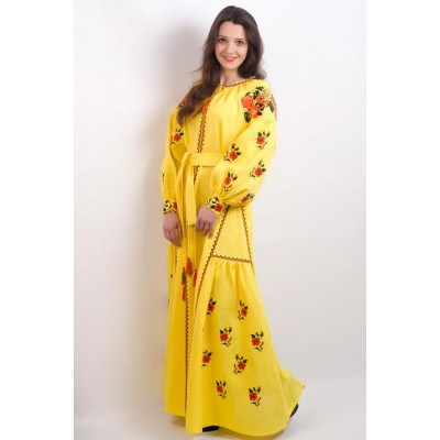 "Boho Style Ukrainian Embroidered Maxi Broad Dress Yellow ""Ukrainian Tradition"""