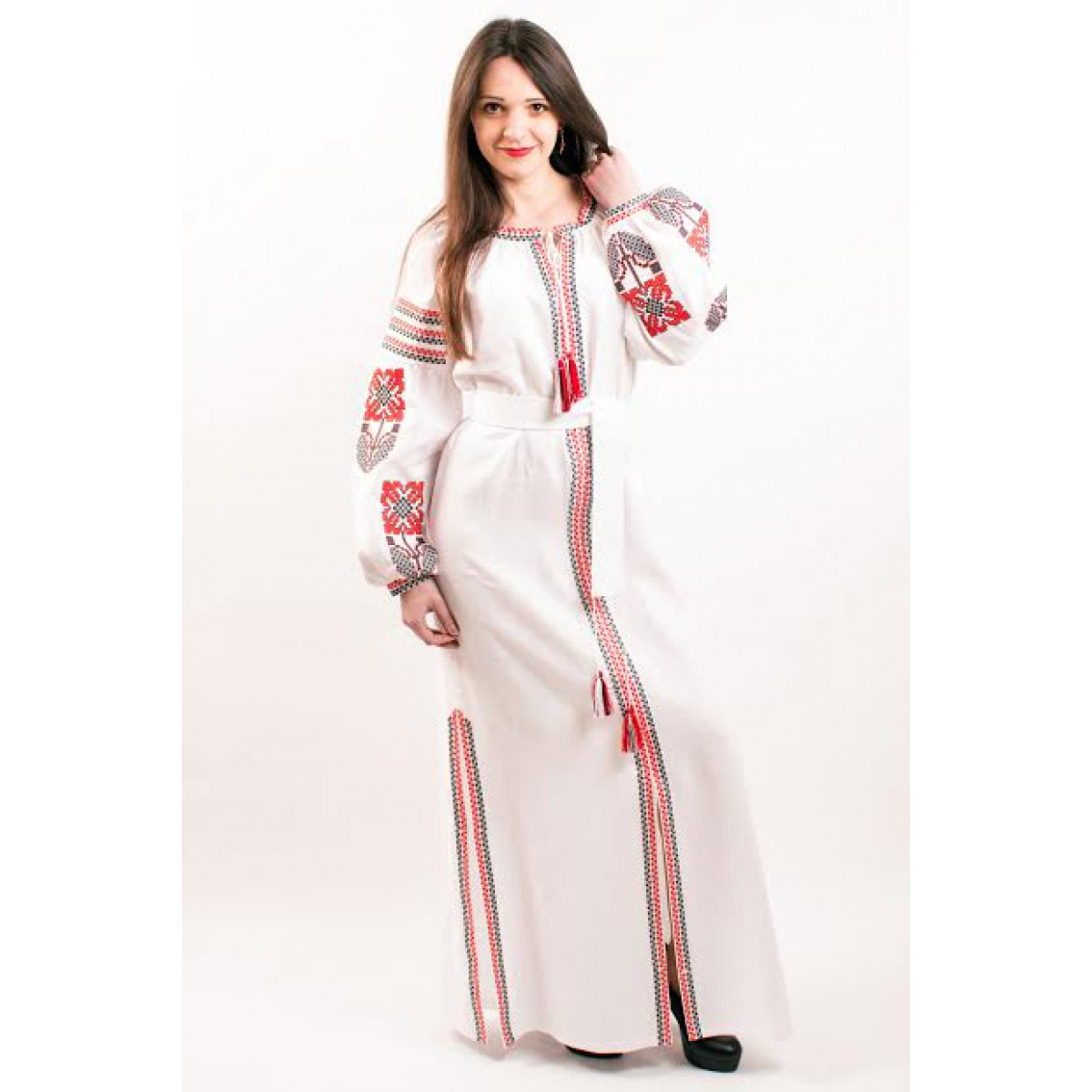 cb08439acc7 Boho Style Ukrainian Embroidered Maxi Broad Dress Red on White
