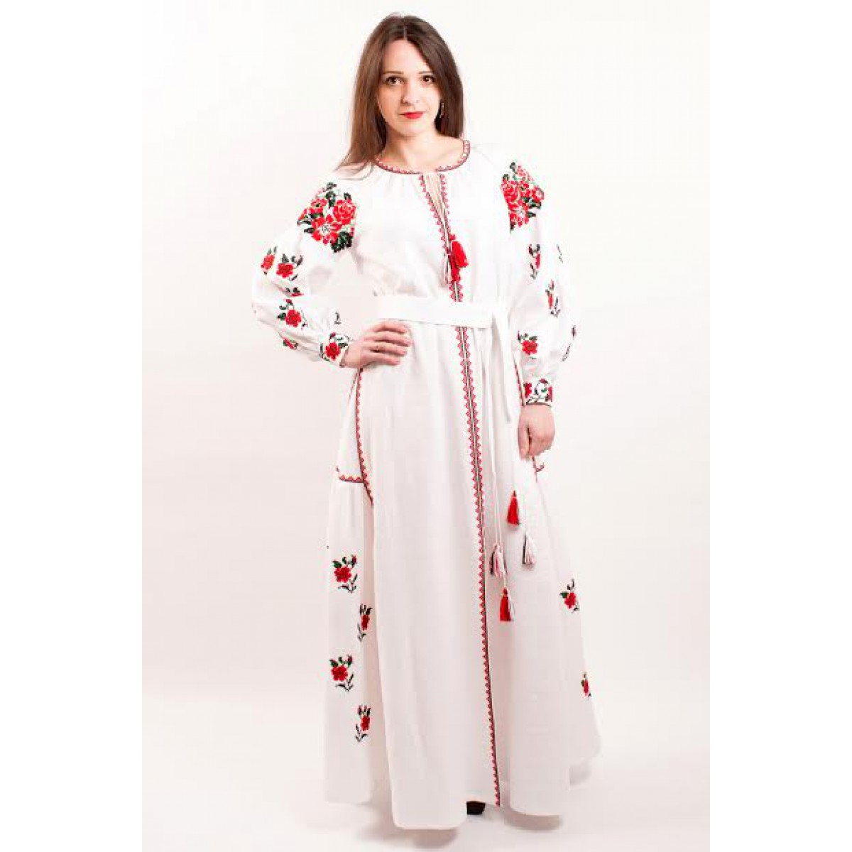 47df21f8bb4 Boho Style Ukrainian Embroidered Maxi Broad Dress White on White