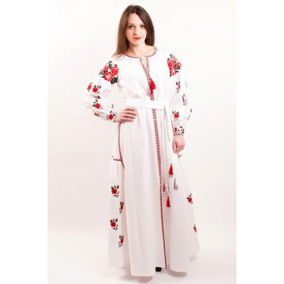 "Boho Style Ukrainian Embroidered Maxi Broad Dress White on White ""Ukrainian Tradition"""