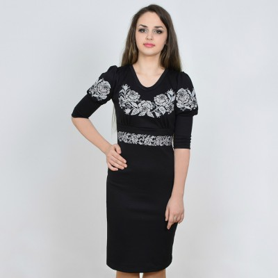 "SALE!! Embroidered dress ""Roses for Panna"" white on black Sizes XL2"