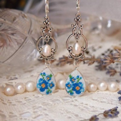 "Earrings ""Pearl Forget-me-not"""