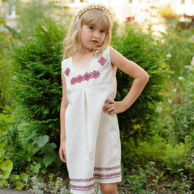 "Embroidered dress for baby girl ""Sarafan June"""