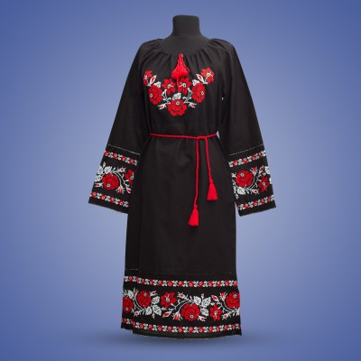 "Embroidered dress ""Roses"" red on black"