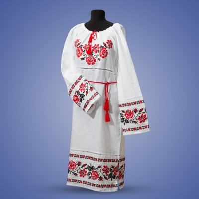"Embroidered dress ""Roses"" red on white"