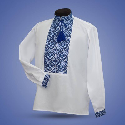 "Embroidered shirt ""Gentleman"" blue"