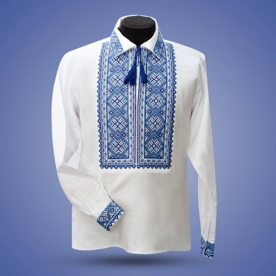 "Embroidered shirt ""Cossac"" blue"