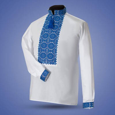 "Embroidered shirt ""Warrior"" blue"