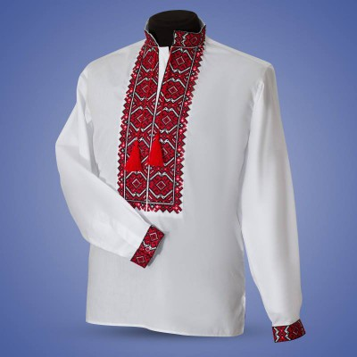 "Embroidered shirt ""Warrior"" red"