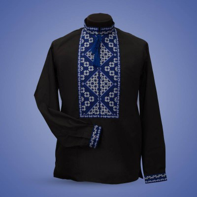 "Embroidered shirt ""Strict Rhombs"" blue"