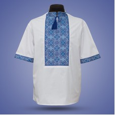 "Embroidered shirt ""Classic"" blue short sleeve"