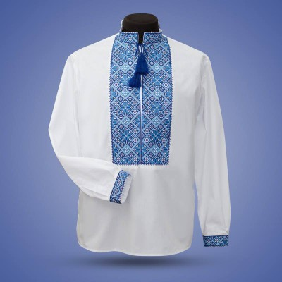 "Embroidered shirt ""Classic"" blue"