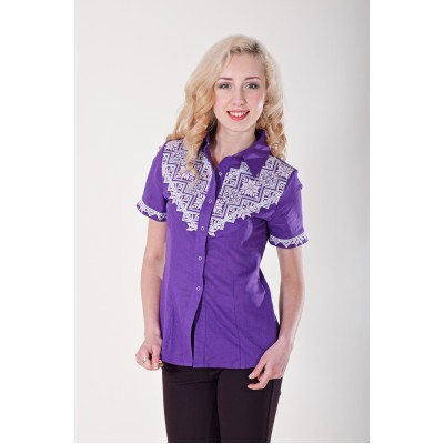 "SALE!! Embroidered blouse ""Galychanka"" violet. Size L2"