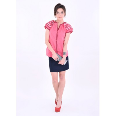 "Embroidered blouse ""Little Star"" pink/red/peach"