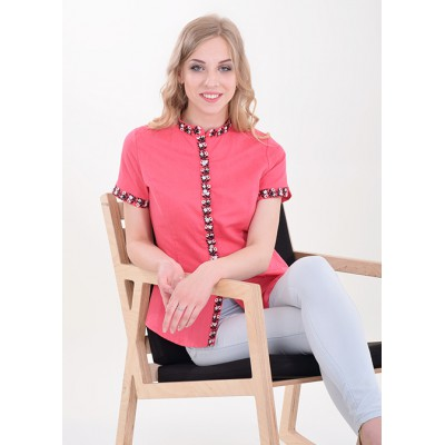 "Embroidered blouse ""Daisy"" Coral"