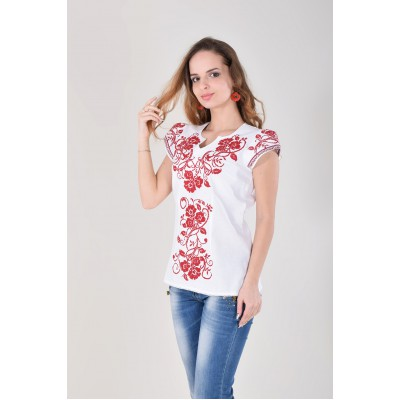 "SALE!! Embroidered blouse ""Arabesque"" red. Size L2/XL1"