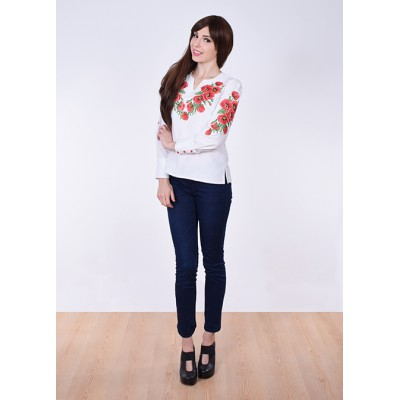 "Embroidered blouse ""Lace Poppies"" red"
