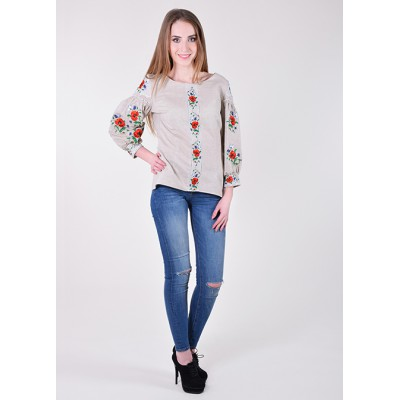 "Embroidered blouse ""Magnificent Poppies"" grey"
