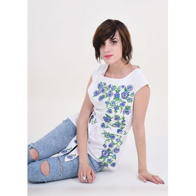 "Embroidered blouse ""Flower Paradise"" white"
