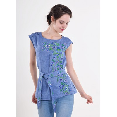 "Embroidered blouse ""Flower Paradise"" blue"