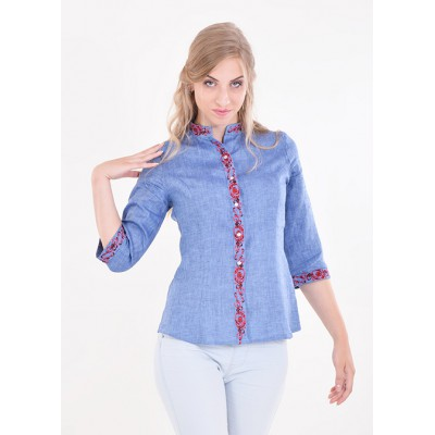 "Embroidered blouse ""Dream Plus"" blue"