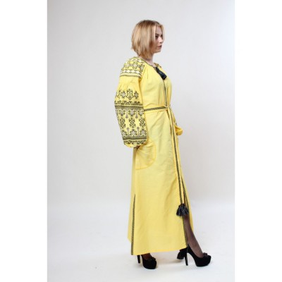 "Boho Style Ukrainian Embroidered Maxi Dress ""Zlata Black-on-Yellow"""