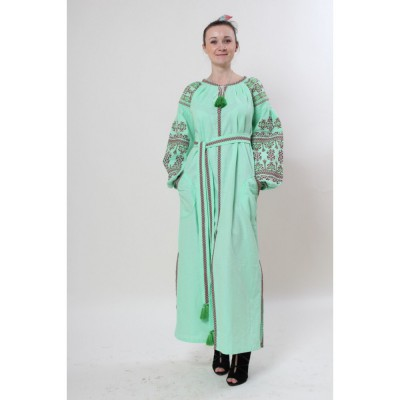 "Boho Style Ukrainian Embroidered Maxi Dress ""Zlata Red-on-Mint"""