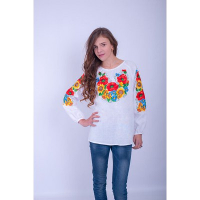 "Embroidered blouse for girl ""Ukrainian Bouquet"""