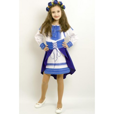 "Embroidered costume for girl ""Ukrainian Girl"" blue"