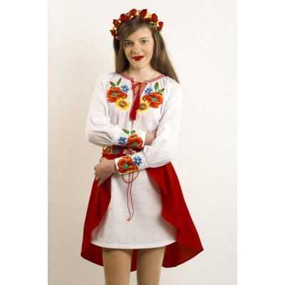 "Embroidered costume for girl ""Ukrainian Bouquet"""