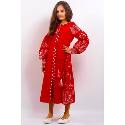 "Embroidered costume for girl ""Luxury 2"" red"