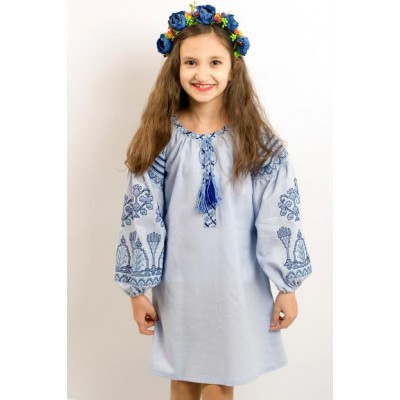 "Embroidered costume for girl ""Luxury"" blue"
