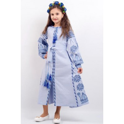 "Embroidered costume for girl ""Luxury 2"" blue"