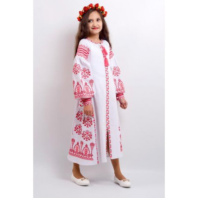 "Embroidered costume for girl ""Luxury 2"" white"