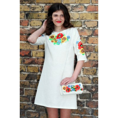 "Embroidered dress for girl ""Ukrainian Bouquet"" teenage"