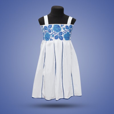 "Embroidered sleeveless dress for girl ""Rose"" blue"