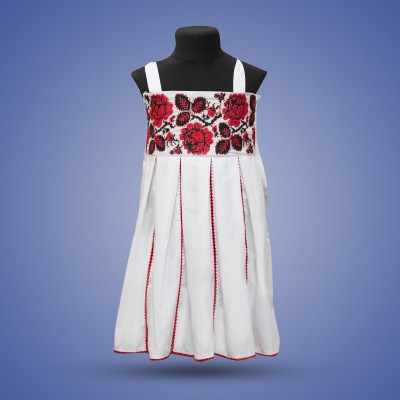 "Embroidered sleeveless dress for girl ""Rose"" red"