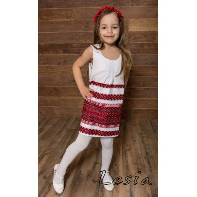 "Embroidered sleeveless dress for girl ""Woven"""