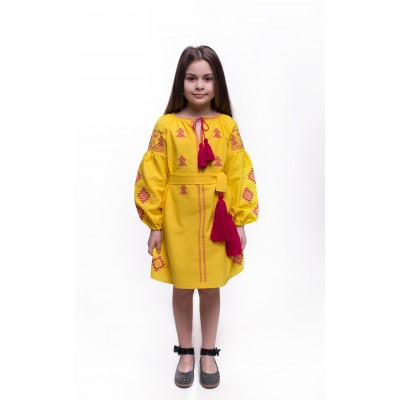 "Embroidered dress for girl ""Adriana"" amber"
