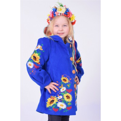 "Embroidered coat for girl ""Butterfly"" light blue"