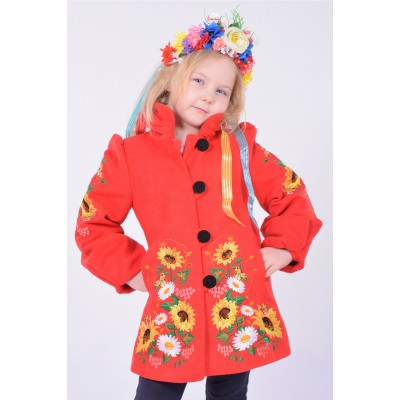 "Embroidered coat for girl ""Butterfly"" red"