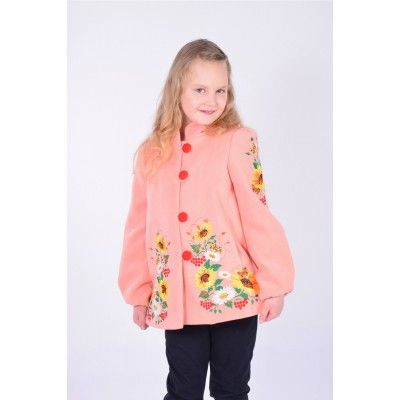 "Embroidered coat for girl ""Butterfly"" pink"