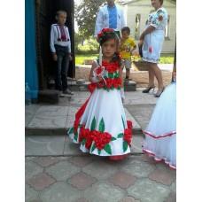 "Beads and Ribbons Embroidered Dress and Handbag for girl ""Royal"""