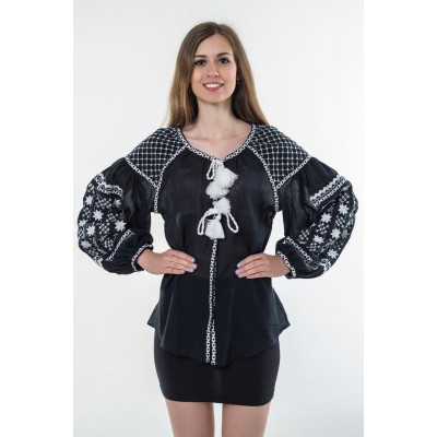 "Boho Style Ukrainian Embroidered Folk  Blouse ""Starry Sky"" white on black"