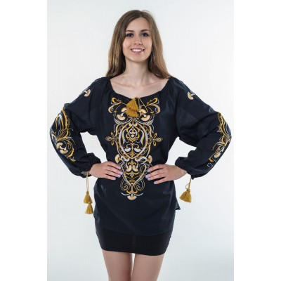 "Boho Style Ukrainian Embroidered Folk  Blouse ""Magic Herbs"" golden on black"
