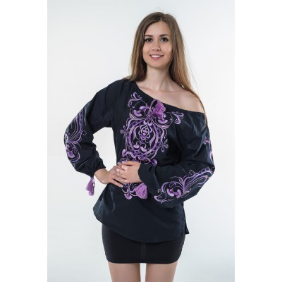 "Boho Style Ukrainian Embroidered Folk  Blouse ""Magic Herbs"" purple on black"